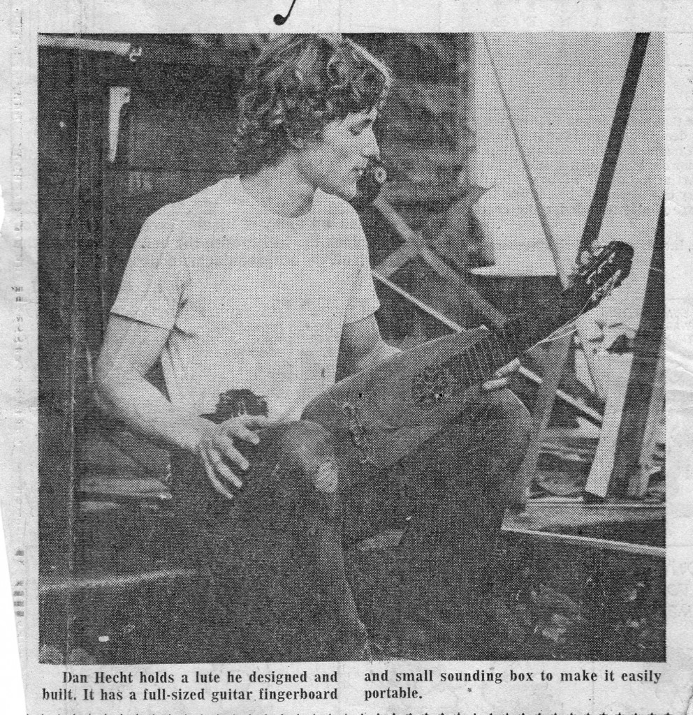 """Myself with a small lute I'd built, on the porch of the """"yoga farm,"""" during Moondog's visit."""